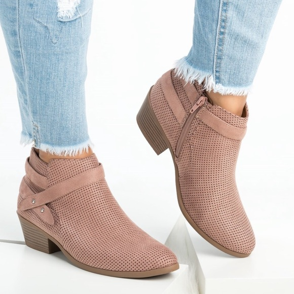08a33bbc6 Marigold Mauve Perforated Ankle Booties